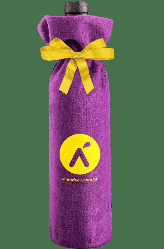 Porta Garrafa Roxo em Plush com amarração em cetim amarelo