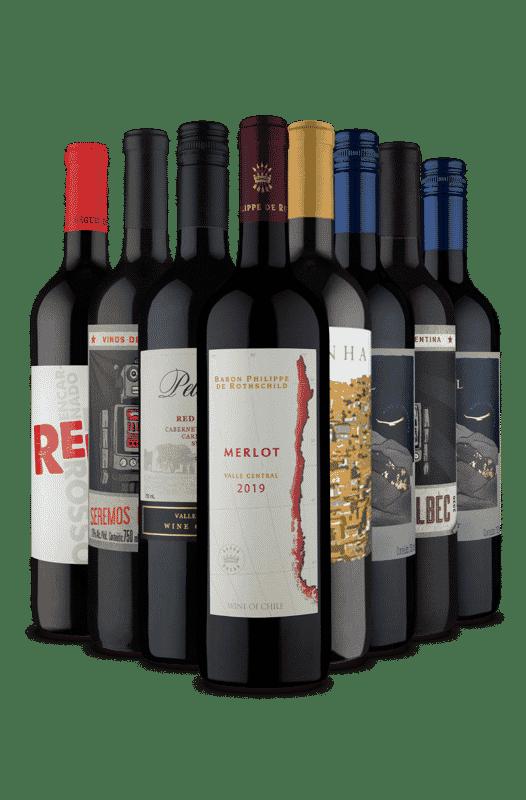 Kit Tintos de 3 Países e Uvas Variadas (8 Vinhos)