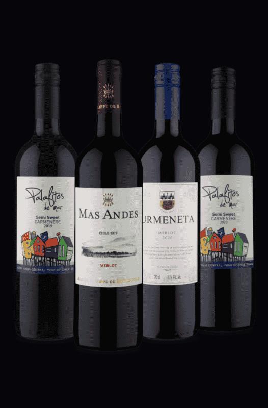 Kit Chilenos Merlot e Carménère (4 Vinhos)