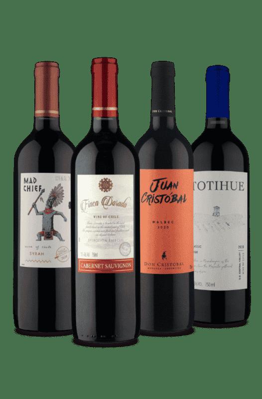 Kit Vinhos Secos - Syrah, Cabernet Sauvigno, Malbec, Merlot (4 Vinhos)