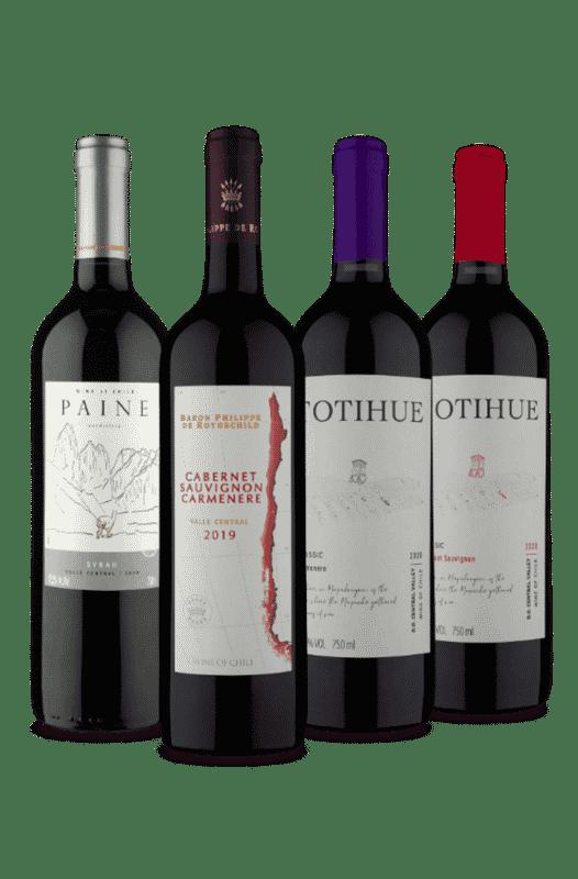 Kit Vinhos Chilenos Uvas Variadas (4 Vinhos)