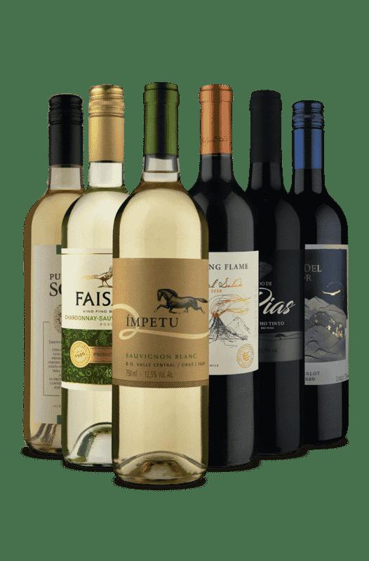 Kit 3 Tintos e 3 Brancos Selecionados (6 Vinhos)