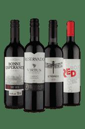 Kit 4 Tintos Brasil, Portugal, Espanha e África do Sul (4 Vinhos)