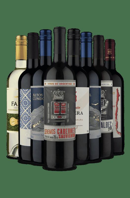 Kit 7 Vinhos Tintos + 1 Vinho Branco (8 Vinhos)