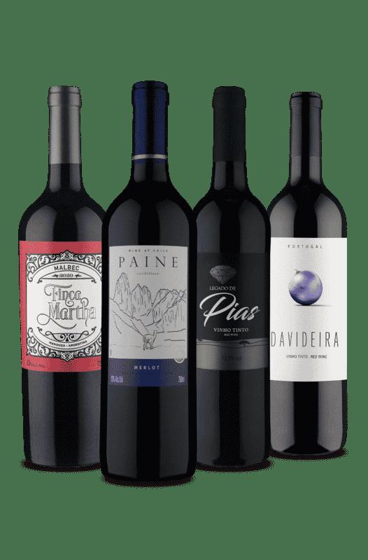 Kit 2 Portugueses, 1 Chileno e 1 Argentino (4 Vinhos)