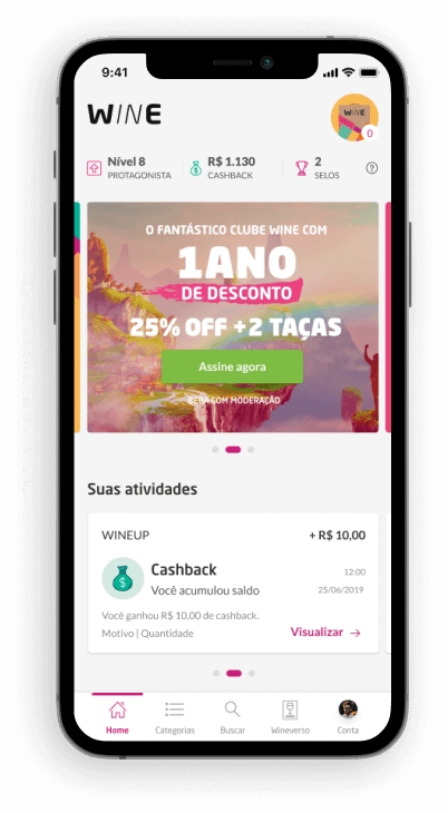 smartphone com a tela inicial do aplicativo da wine