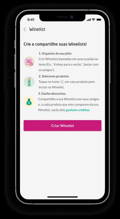 smartphone com a tela winelist do aplicativo da wine