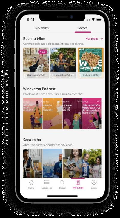 smartphone com a tela do wineverso no aplicativo da wine