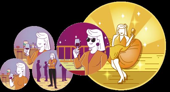 Ilustração de pessoas tomando vinho