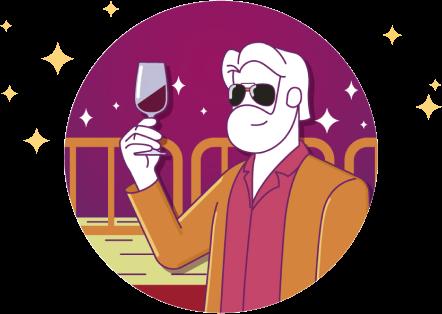 Ilustração de uma pessoa tomando vinho
