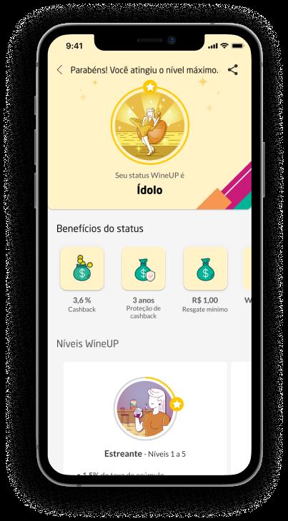 Imagem de um celular com o wineup exibindo o título de ídolo
