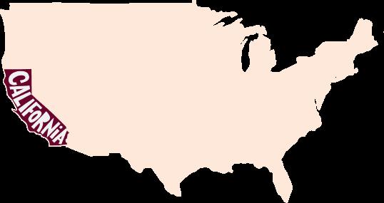 Mapa dos estados únidos que indicando o estado da California