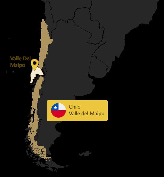 Mapa do Chile que indica a região do Valle del Maipo