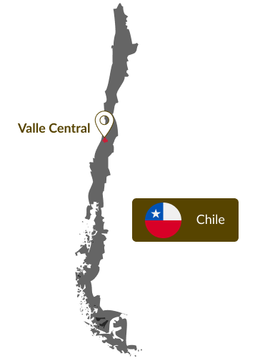 Mapa do Chile que indica a região do vale central